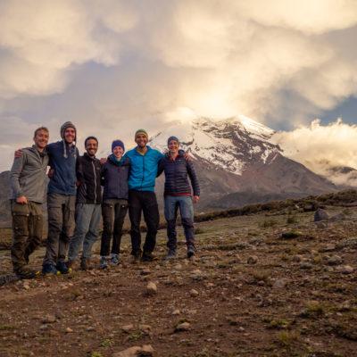 The team below Chimborazo volcano after the last day of fieldwork in Ecuador (Vincent de Staercke)